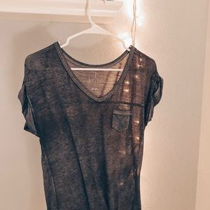 Charcoal loose fit v neck tee